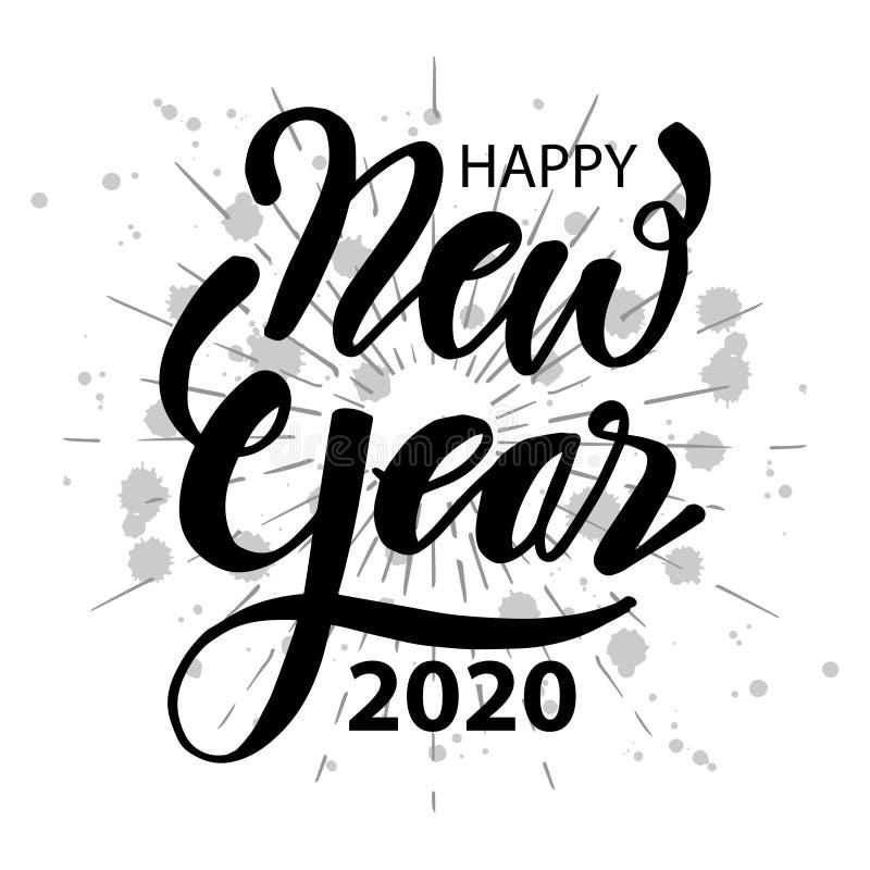 Lyckligt 2020 nytt ?r Handbokstäver med sunburst stock illustrationer
