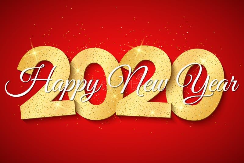 Lyckligt nytt ?r 2020 nummer 3D med guld- blänker på en röd bakgrund H?rlig kalligrafi ocks? vektor f?r coreldrawillustration royaltyfri illustrationer