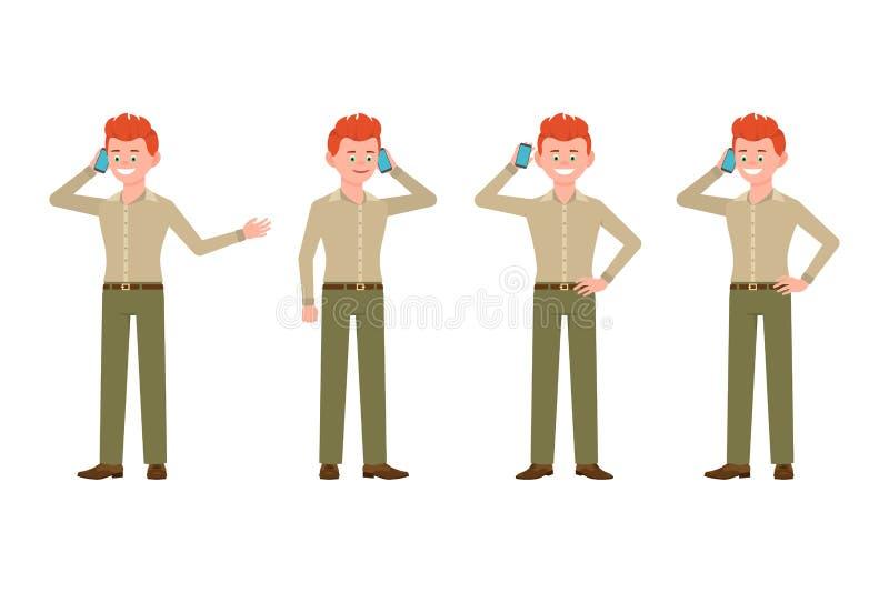 Lyckligt och att le, röd hårman i grön flåsandevektorillustration Kalla och att tala på telefonen, stående pojketecknad filmtecke vektor illustrationer