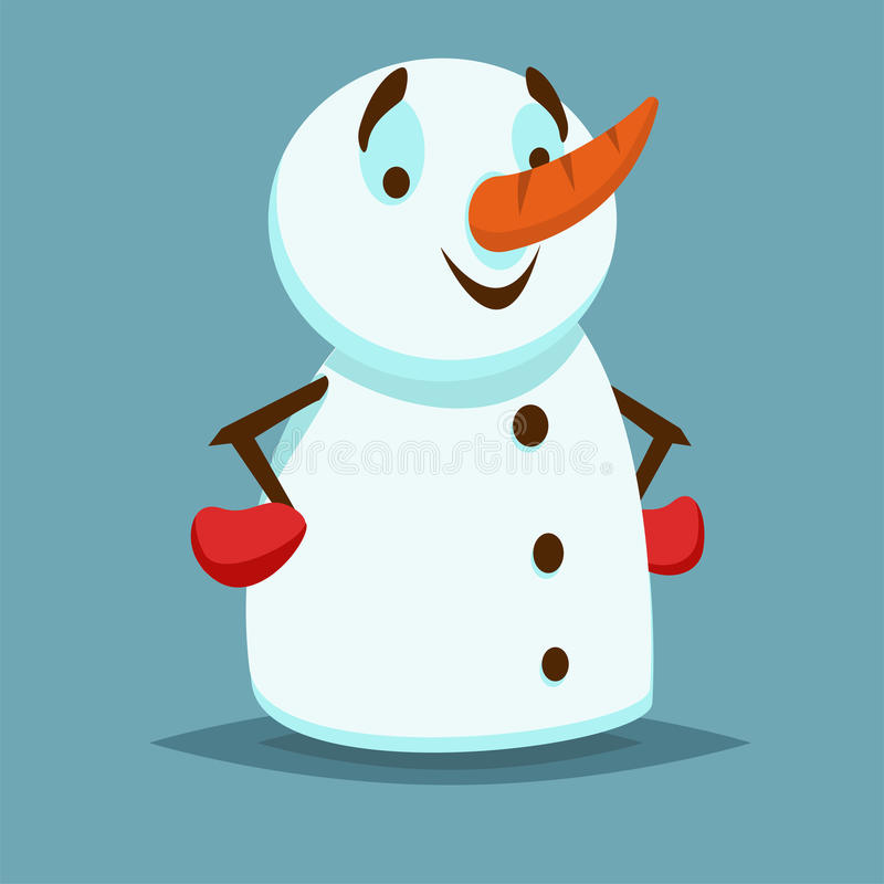 Lyckligt och le snögubben med röda handskar och händer på hennes höfter Tecken för hjälpreda eller för lek för vektorsymbolslägen stock illustrationer