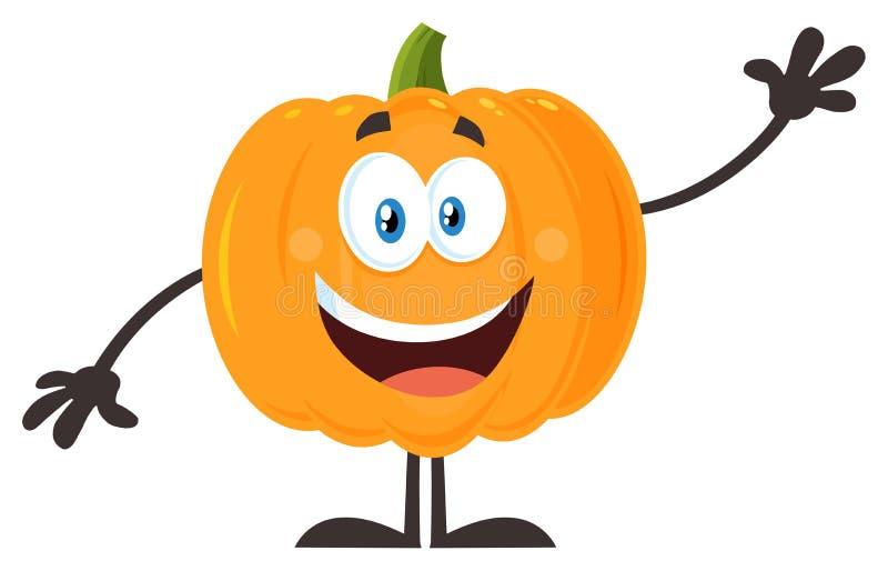 Lyckligt orange för Emoji för pumpagrönsaktecknad film vinka tecken stock illustrationer
