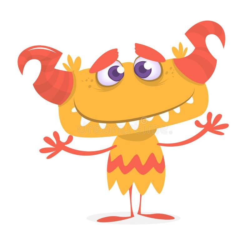 Lyckligt orange monster Maskot för tecken för vektorallhelgonaafton horned gigantisk stock illustrationer