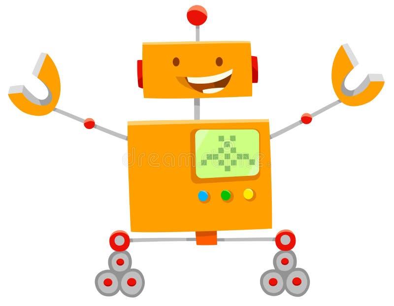 Lyckligt orange robottecknad filmtecken stock illustrationer