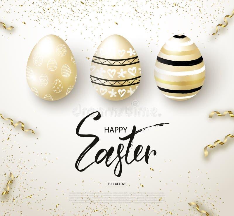 Lyckligt påskbakgrund med realistiskt guld- sken dekorerade ägg och slingrande Designorientering för inbjudan royaltyfri illustrationer