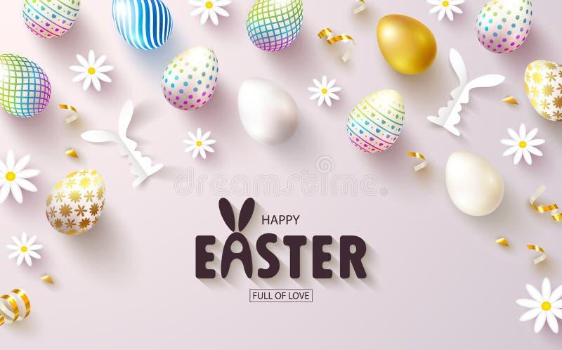Lyckligt påskförsäljningsbaner Härlig bakgrund med färgrika ägg, pappers- kaniner, kamomill och guld- slingrande vektor vektor illustrationer