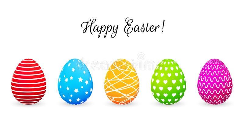 Lyckligt påskhälsningkort med färgrika ägg också vektor för coreldrawillustration stock illustrationer