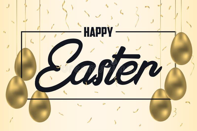 Lyckligt påskhälsningkort med guld- ägg och guld- konfettier Berömbaner, affisch med ramen och garnering vektor stock illustrationer