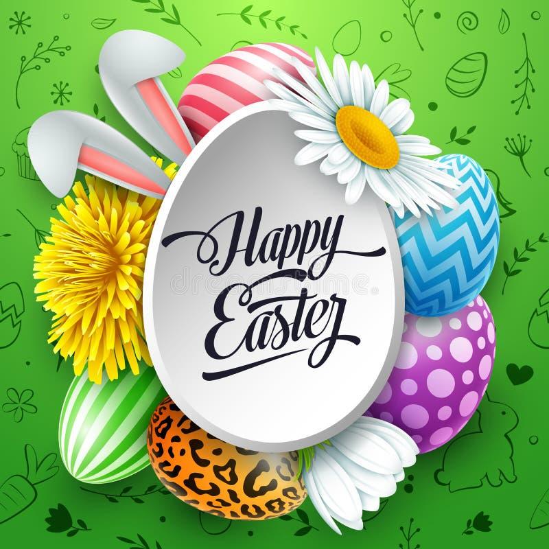 Lyckligt påskhälsningkort med kulöra ägg, blommor, kaninöron och gulliga klotter på grön bakgrund vektor illustrationer