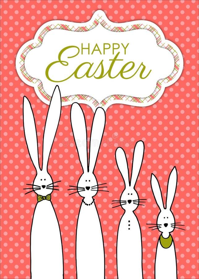 Lyckligt påskhälsningskort med den utdragna kaninfamiljen för hand vektor illustrationer