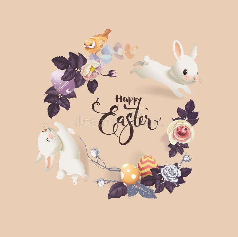 Lyckligt påskhälsningskort Vektorillustration med den färgrika kransen av blommor, ägg och kaniner Skriftlig hand stock illustrationer