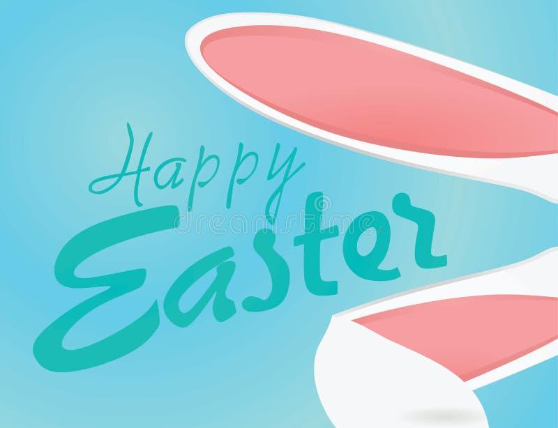 Lyckligt påskkort med kaninöron royaltyfri illustrationer