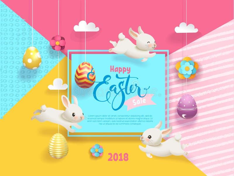 Lyckligt påskSale kort dekorerade ägg som hänger på abstrakt bakgrund för rader, roliga små kaniner, fyrkantig ram och stock illustrationer