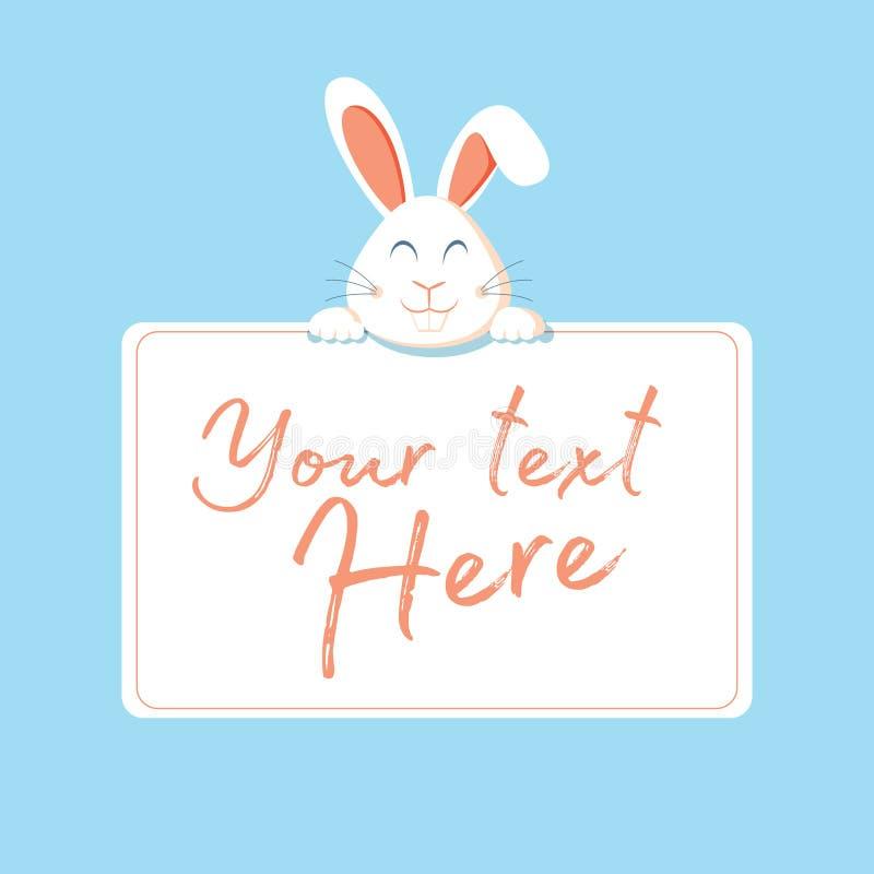 Lyckligt p?skreng?ringsdukbaner H?lsningkort med kanin Kanin?ron ocks? vektor f?r coreldrawillustration Teckenkanin, kanin och ta royaltyfri illustrationer