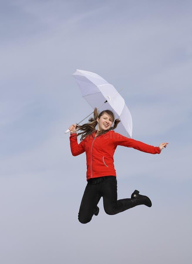 lyckligt paraply för flicka royaltyfria bilder
