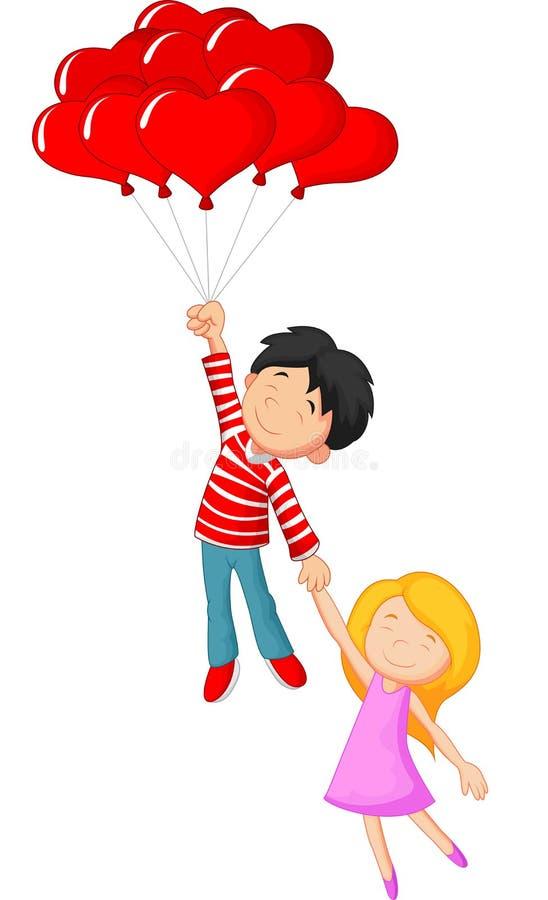 Lyckligt partecknad filmflyg med förälskelseformballongen vektor illustrationer