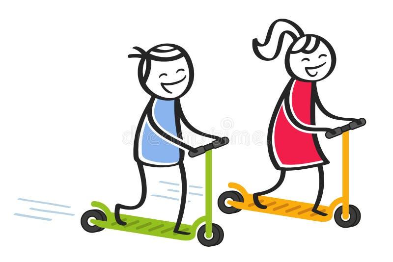 Lyckligt pinnefolk som rider elektriskt sparkcykel-, man- och kvinnaanseende på färgrika sparkcyklar stock illustrationer