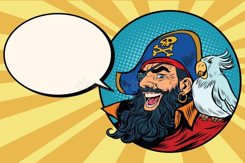 Lyckligt piratkopiera med en papegoja, komisk bubbla för popkonst vektor illustrationer