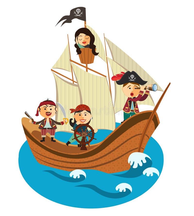 Lyckligt piratkopierar segling i deras piratkopierar skeppvektorn som isoleras på en vit bakgrund vektor illustrationer