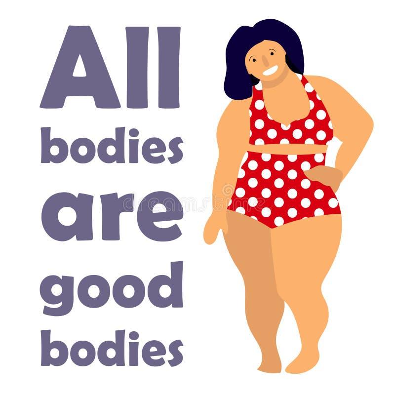 Lyckligt plus formatkvinna Lyckligt kropprealitetbegrepp Alla kroppar är bra text Attraktiv överviktig kvinna vektor illustrationer