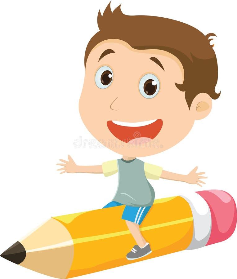 Lyckligt pojkeflyg på en blyertspenna royaltyfri illustrationer