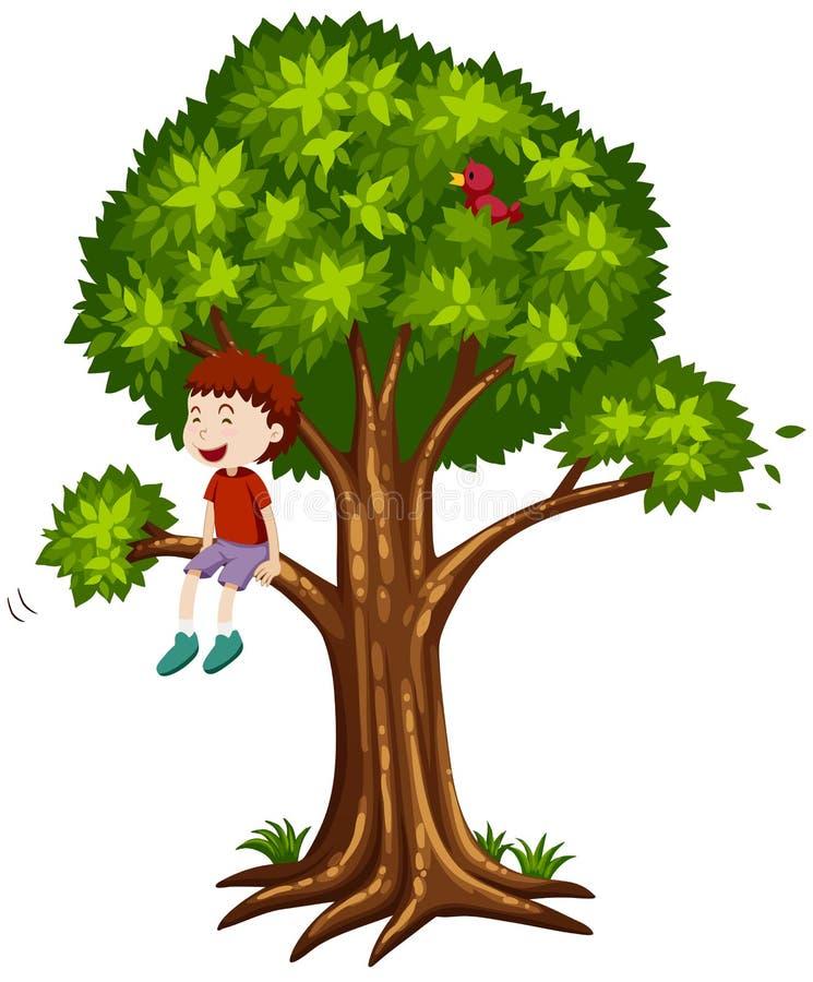 Lyckligt pojkesammanträde på trädet stock illustrationer