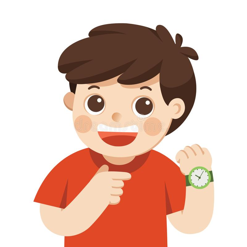 Lyckligt pojkevisningarmbandsur Visar en tid Pys som pekar på hans posera för armbandsur vektor illustrationer