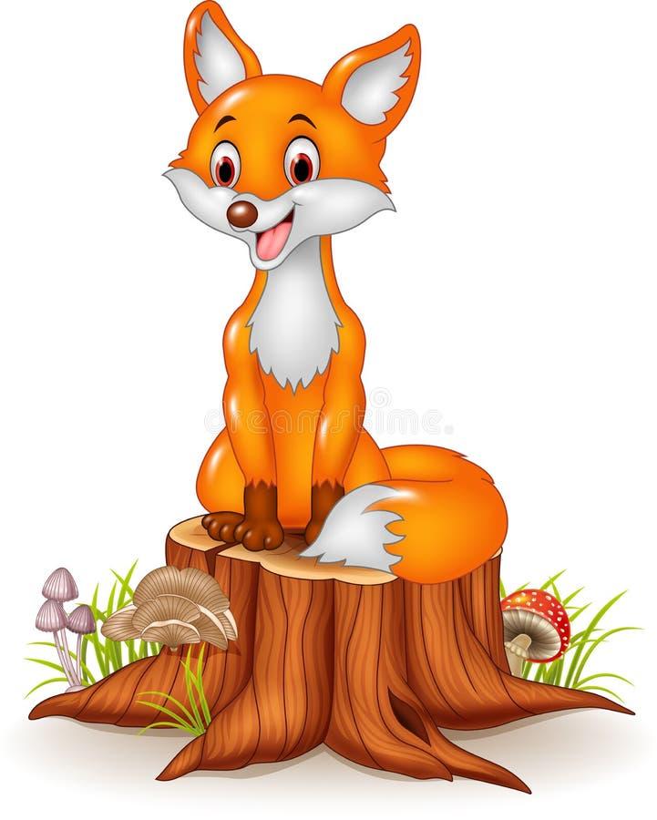 Lyckligt rävsammanträde för tecknad film på trädstubbe stock illustrationer