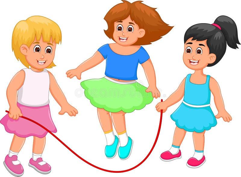 Lyckligt rep för hopp för barntecknad filmlek med lycka royaltyfri illustrationer