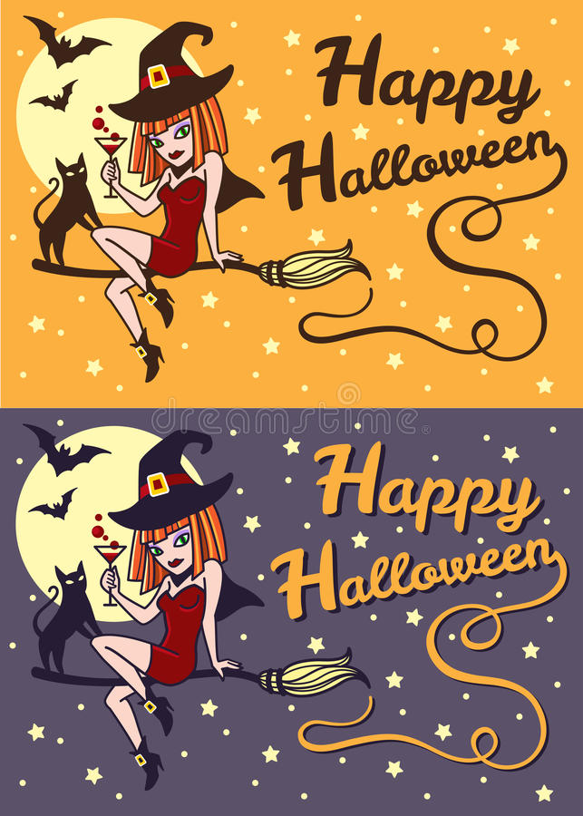 Lyckligt retro kort för för halloween häxa och katt royaltyfri illustrationer