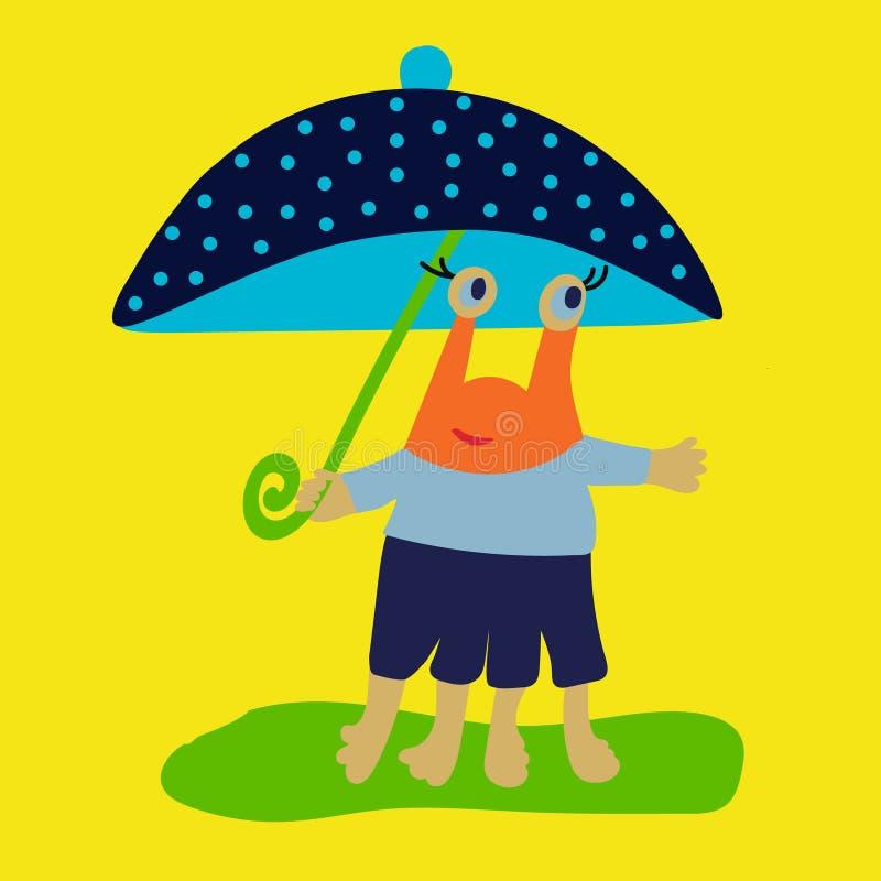 Lyckligt roligt barnsligt monster med paraplyet för barntecknad filmillustration och ungedeseign bakgrund som tecknar den blom- g royaltyfri illustrationer