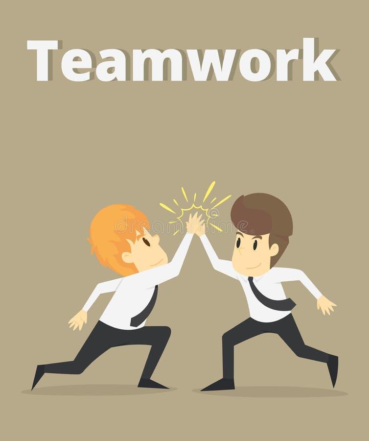 Lyckligt samarbete, affärsman och coworkers som gör höjdpunkt fem Busi royaltyfri illustrationer