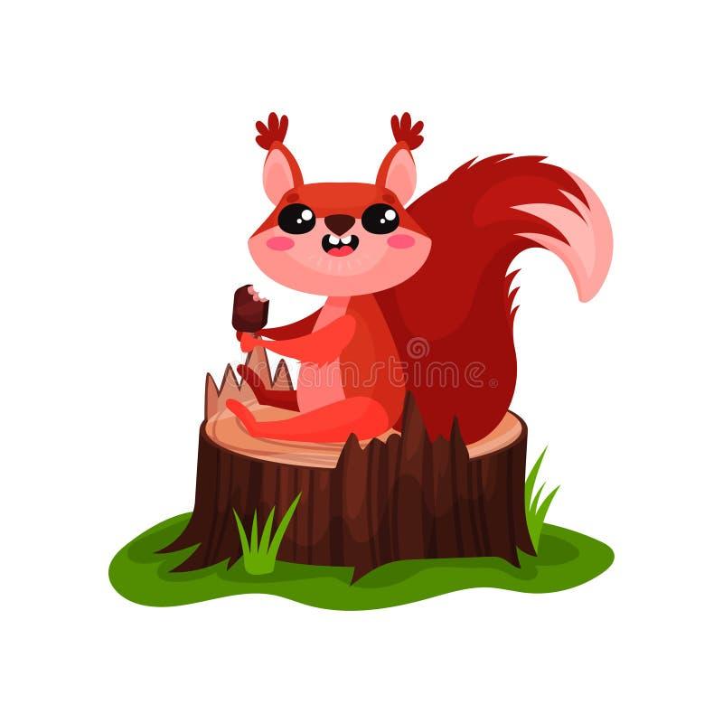 Lyckligt sammanträde för röd ekorre på trädstubbe och ätaglass Plan vektorsymbol av den lilla skoggnagaren med den fluffiga svans vektor illustrationer