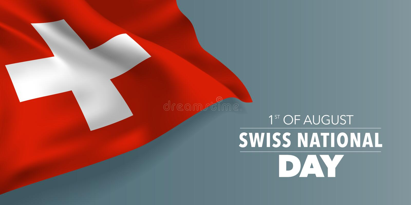 Lyckligt schweiziskt hälsningkort för nationell dag, baner med illustrationen för malltextvektor royaltyfri illustrationer