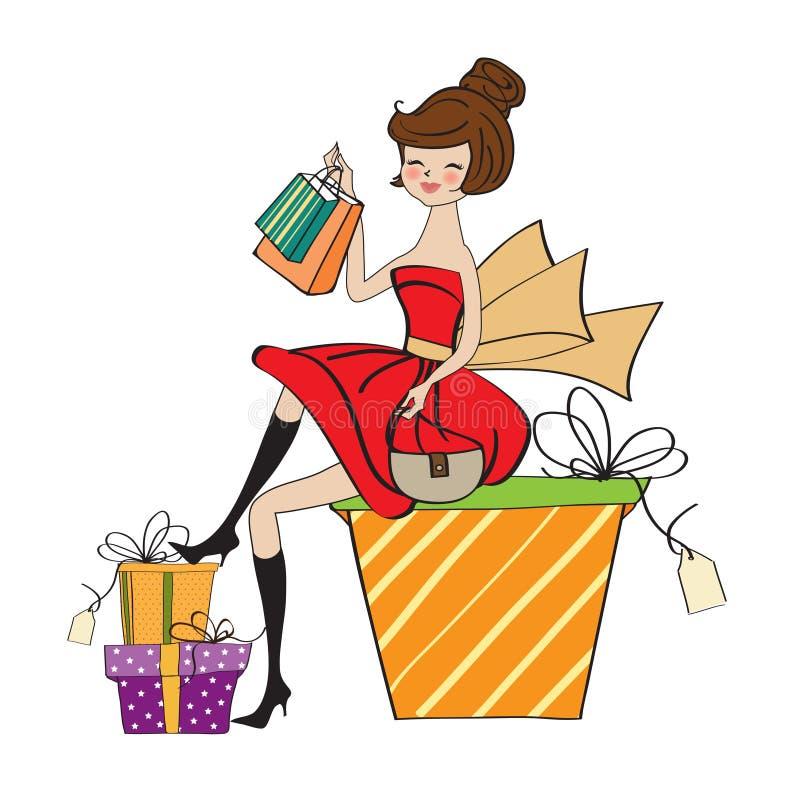lyckligt shoppa gick vem kvinnan vektor illustrationer