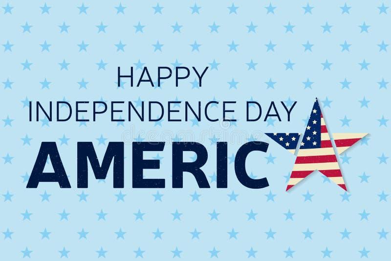 Lyckligt självständighetsdagenhälsningkort, reklamblad Lycklig självständighetsdagenaffisch Patriotiskt baner för websitemall Vek royaltyfri illustrationer