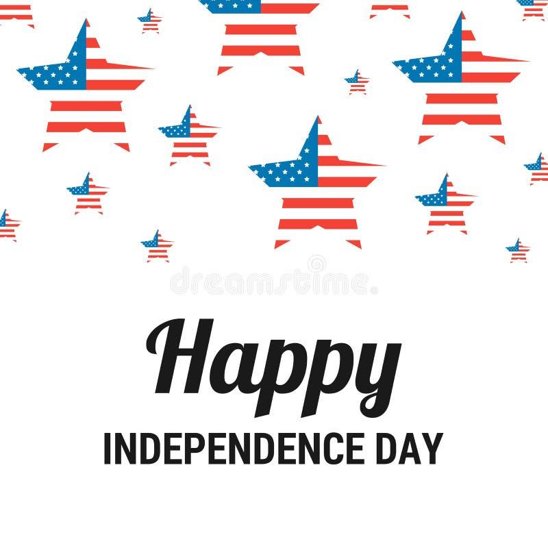 Lyckligt självständighetsdagenhälsningskort med amerikanska flaggan på stjärnorna Patriotisk illustration f?r vektor vektor illustrationer