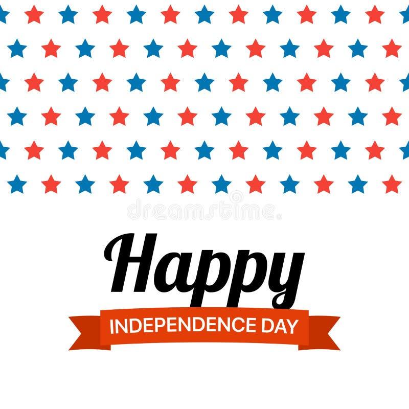 Lyckligt självständighetsdagenhälsningskort med mycket röda och blåa stjärnor Patriotisk fj?rdedel f?r plan vektor av det Juli il vektor illustrationer