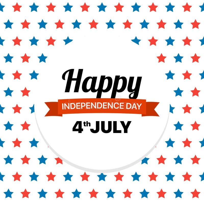 Lyckligt självständighetsdagenhälsningskort med mycket röda och blåa stjärnor Patriotiskt fjärde för vektor av det Juli illustrat stock illustrationer
