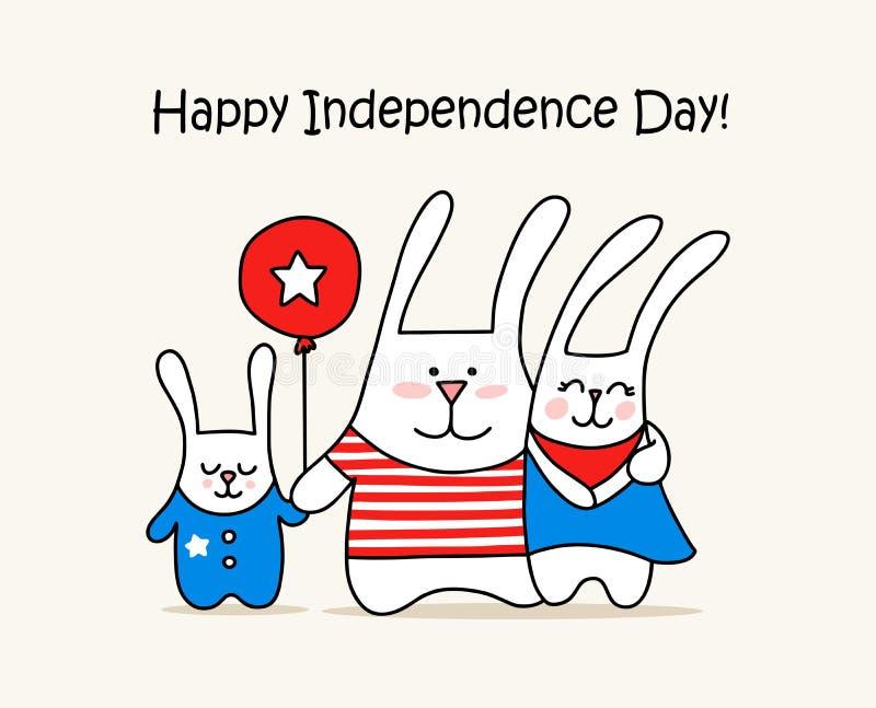 Lyckligt självständighetsdagenkort med den gulliga kaninfamiljen och den röda ballongen 4th av kortet för djur för illustration f stock illustrationer
