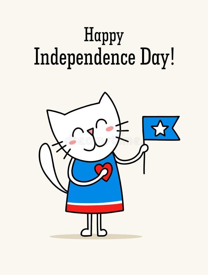 Lyckligt självständighetsdagenkort med den gulliga vita pottholdesamerikanska flaggan Patriotiskt kort för vektorlägenhetillustra vektor illustrationer