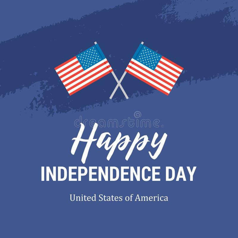 Lyckligt självständighetsdagenkort med två amerikanska flaggan Patriotisk 4th för plan vektor av den Juli illustrationen stock illustrationer