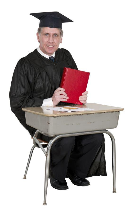 Lyckligt skola den isolerade lärare- eller högskolaprofessorn royaltyfria foton