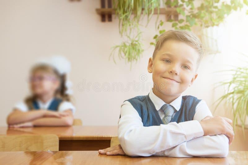 Lyckligt skolpojkesammanträde på skrivbordet royaltyfri bild