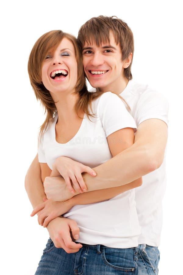 lyckligt skratta för par arkivfoton