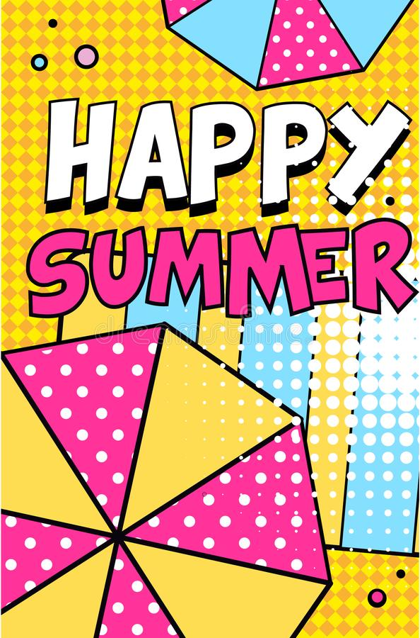 Lyckligt sommarbaner, ljus retro illustration för vektor för affisch för stil för popkonst vektor illustrationer