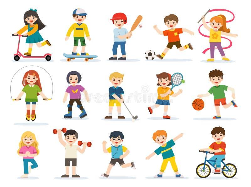 Lyckligt spela för ungar som är sportive, och tycka om olika sportövningar stock illustrationer