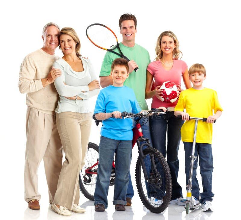 lyckligt sportive för familj royaltyfria foton