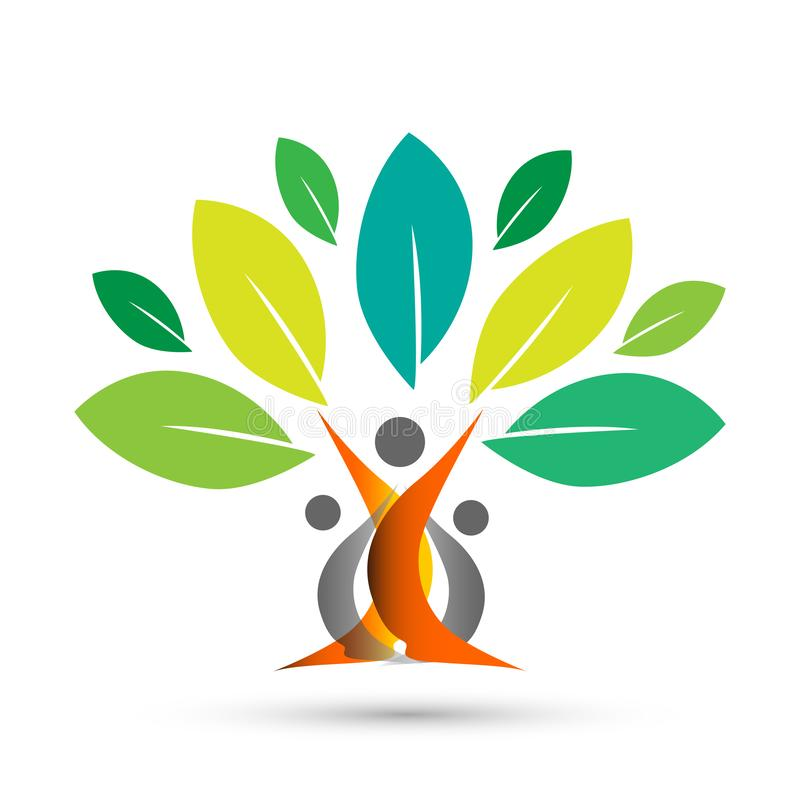 Lyckligt stamträd med färgrik design på vit bakgrund royaltyfri illustrationer
