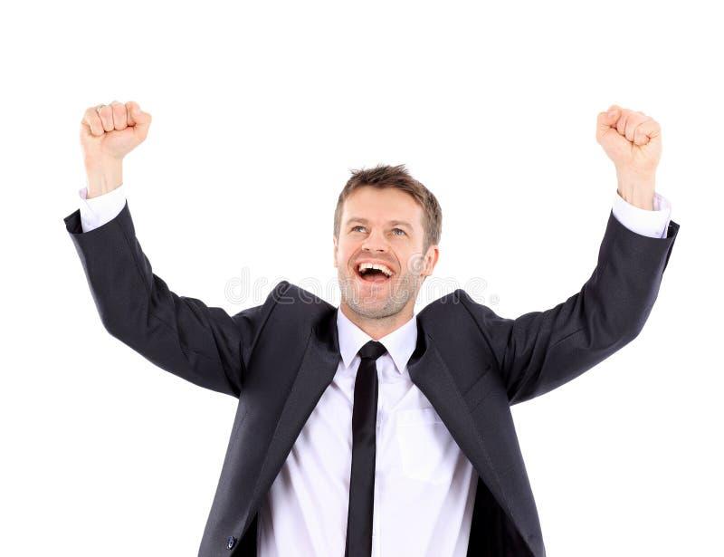 Lyckligt stiligt fira för man Vinnare som skrattar mannen royaltyfri bild