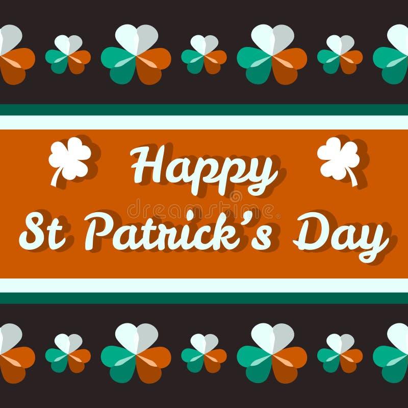 Lyckligt Sts Patrick dagkort med treklöverer royaltyfri illustrationer